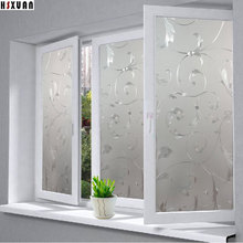 Window Privacy Films ,PVC Premium No-Glue 3D flower Static Kitchen Glass Window Sticker Home Decor 40x100cm Hsxuan brand 400829(China)