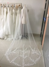 2017 Real picture 3 meters One Tiered Lace Long Elegant Wedding Bridal Veil With Comb Veu de Noiva Edge Wedding Veils(China)