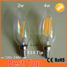 DHL Free Shipping LED Light Bulb 4W Dimmable E14 E12 C35 Candle Bulb C35T With Bent Tip 110V 220v AC For Chandelier Lighting