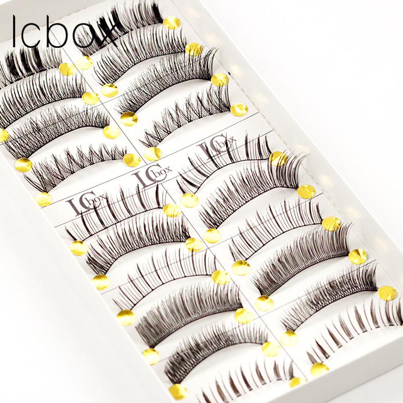 LCBOX 10Pair/ Lot Black 100% Human Hair Natural Fake False Eyelash Soft Long Makeup Eye Lash Extension tools