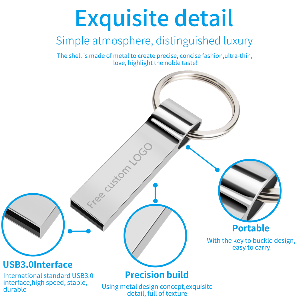 usb flash drive 3.0 silver metal pendrive 128 GB 64 GB 32 GB 16 GB 8 GB 4GB usb memory stick Keychain pen drive Free custom LOGO (9)