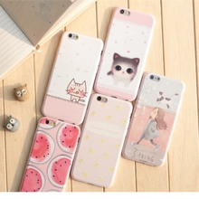 Korea Relief Cartoon Pink Soft Silicone Case For iPhone 5 5s 6 6s 7 Plus Wind Girl Cat Watermelon Yellow Duck Cameo Phone Cover(China)