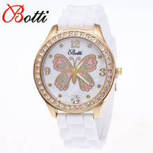 New Fashion Ybotti Brand Trendy Casual  Quartz Watch Women Dress Pink Butterfly Crystal Silicone Watches Relogio Feminino Hot