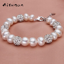 Aitunan Fashion Natural Freshwater Pearl Bracelets Ball Crystal Pearl Pandora Bracelets 925 Sterling Silver Bracelet For Women(China)