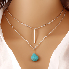 Fashion Bohemia Created Stone Double Chain Heart Pendant Necklace Punk Classic Summer Body Chain Necklaces Jewelry Women