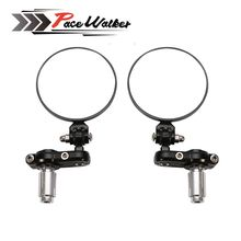 "FREE SHIPPING PACEWALKER MOTORCYCLE BIKE 3"" ROUND 7/8"" HANDLE BAR END MIRRORS REARVIEW SIDE MIRROR"