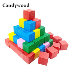 Candywood Montessori Colorful wood cube blocks Bright Assemblage block Early educational early learning toys for kids children(China)