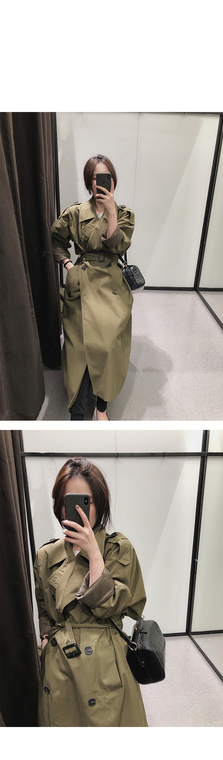 khaki Trench Coat Casual women's long Outerwear loose clothes for lady with belt spring autumn fashion high quality army green 5