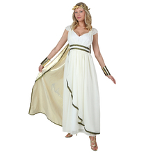 Adult Athena Olympic Goddess Elegant Ivory White Gown With Crown Woman Greeks Historical Costume Performance Fancy Dress(China)