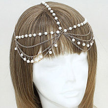 New Bohemia Style Pretty imitation pearl wedding tiara Head Chain Headband indian head india jewelry for hair accessories