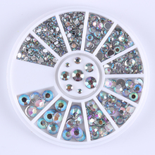 2mm 3mm 4mm 5mm 3D Nail Art Decorations Crystal Glitter Rhinestones for Nail Charms Wheel Round Flat Back Acrylic UV Gel(China)