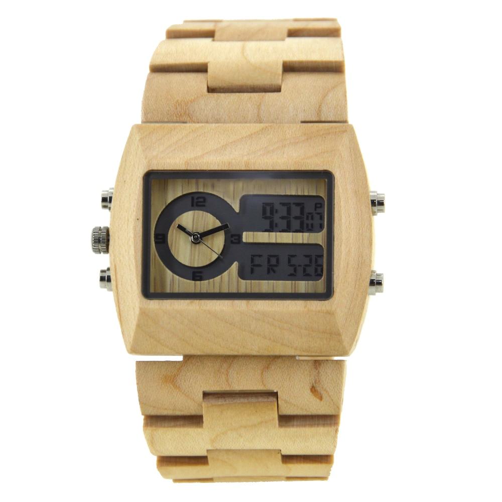 BEWELL 2018 Original Wood Watch for Men Dual Display Rectangle Dial Wristwatch Handmade Wooden Bracelet Dropshipping W021A <br>