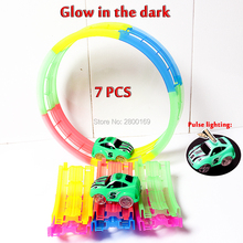 DIY Flex Glow Racing Car Tracks Trax 360 Loop Glow in the Dark Track with Electric Light-Up Rail Car Vehicles Educational Toys