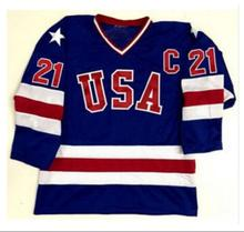 Blue Ice Hockey Jersey Vintage 1980 Miracle On Ice Team USA Mike Eruzione 21 Hockey Jersey Sport Wear Wholesale Dropship