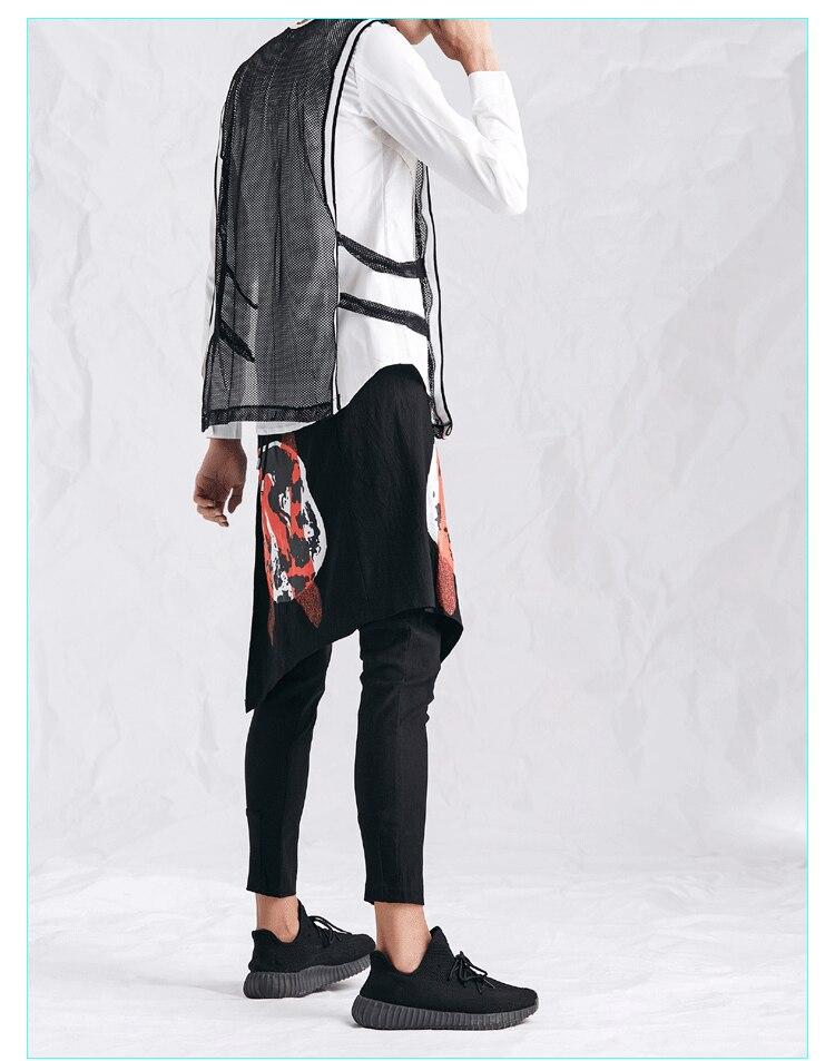 Men Mesh Tank Tops Nightclub Costumes Male High Street Fashion Hip Hop Casual Loose Solid Black Vest Sleeveless Tee Shirts