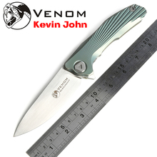 Free shipping,Kevin John New Concept knife,Blade:S35VN(satin),Handle:TC4 Plane bearing outdoor camping Folding knife EDC