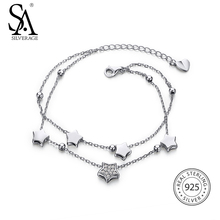 SA SILVERAGE Real 925 Sterling Silver Star Bracelets & Bangles for Women Jewelry Rhinestone Two Layer Chain Link Bracelet Female