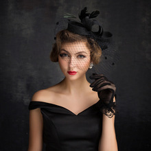 Female Formal Hat Women Black Veil Feather Sinamay Fascinator Bride Headwear Lady Cocktail Wedding Party Dress Hair Headband(China)