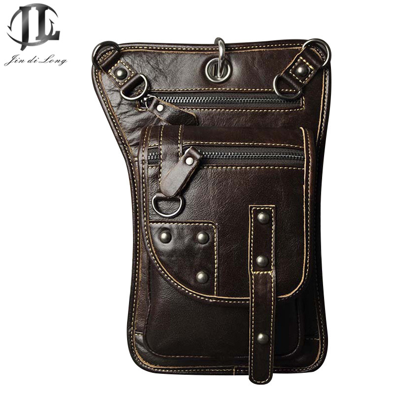 Retro Vintage fashion punk style crazy horse Genuine Leather Men Waist Packs small messager bag ride Leg Bag hip pouch For Man<br><br>Aliexpress