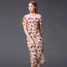 High quality 2016 new summer women runway equined dress color sequins embroidery retro Mid-Calf long dress