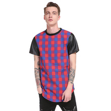PU Leather Short Sleeve Mens T-Shirts Hip Hop Long Style Plaid T Shirt Men Side Zipper Summer Boys Loose Tops Tees Shirts Male(China)