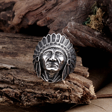 NEW Fashion Titanium Vintage Stainless Steel Native American Men's Large Indian Apache Chief Biker Ring Wholesale