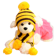 Practical Boutique 1 set of Yellow Woolen three pieces (1 hat + 1 scarf +1 Pair sets) dog cat supplies 5 Sizes Winter Pet Hats