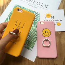 SZYHOME Phone Cases For iPhone 6 6s 7 Plus Case Letter Smiling Face Holder Ring For Apple iPhone 7 Plus Mobile Phone Cover Case(China)