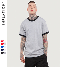 INFLATION 2017 New Style Men Hiphop Plain Color T-shirts Fake Two Piece T shirt 100% Cotton Summer Style Short Sleeve Tee(China)