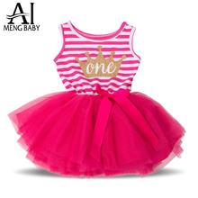 Ai Meng Baby Kids Party Dresses Outfits Children's Girl 1 2 3 Year Birthday Dress Infant Clothing Vestido infantil Clothes Girl