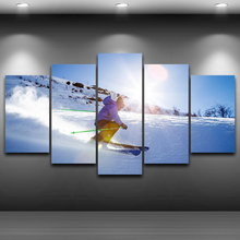 Poster Home Decor Living Room HD Printed Canvas 5 Panel Sports Ski Wall Art Painting Snow Modular Pictures Framed PENGDA