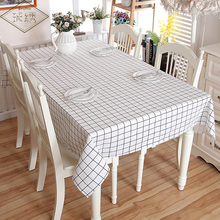 Gray White Color Plaid Geometric Pattern Printed Cotton Linen Tablecloth