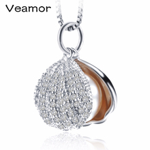 Luxury Full CZ Shell pendant necklace fashion 3 colors Genuine Freshwater Pearl Jewelry Female necklace Party jewelry(China)