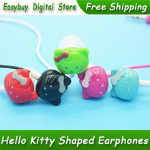 50 pcs/lot New High Quality Cartoon Earphone Super Bass Stereo Headset Cute Hello Kitty Headphones For MP3 Player & Mobile Phone