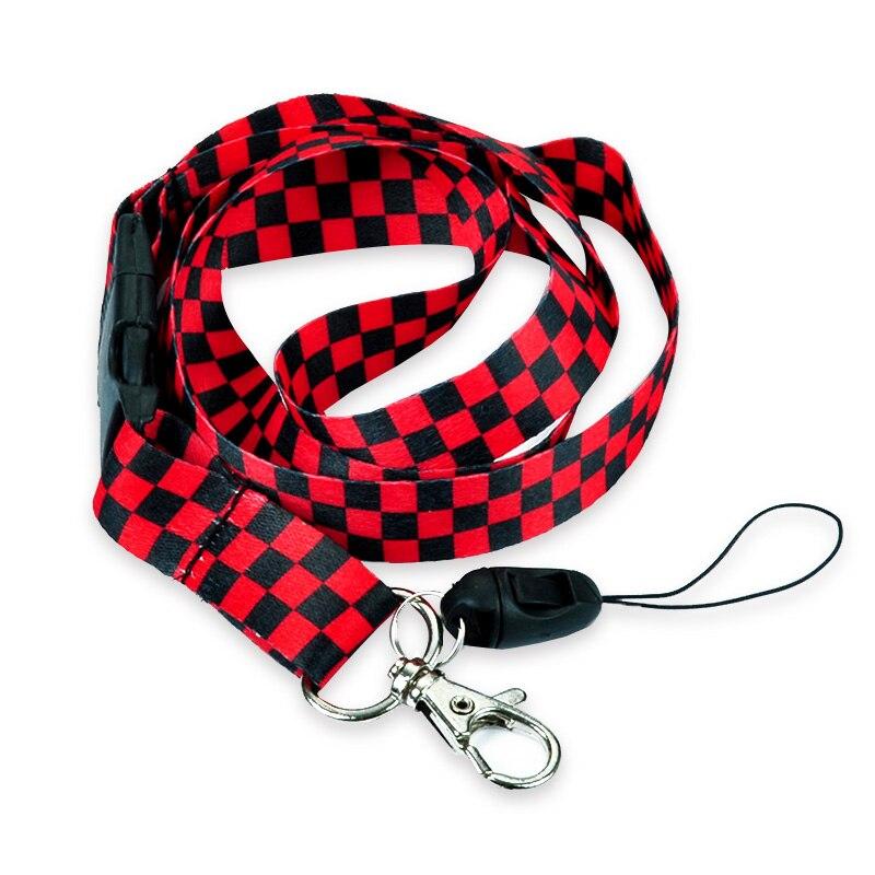 Red Black Plaid Pattern Lanyard
