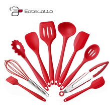 Silicone Kitchen Utensils 10 Piece Cooking Utensil Set Spatula, Spoon, Ladle, Spaghetti Server, Slotted Turner. Cooking Tools(China)