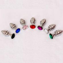 Thread Berg Crystal Silver Color Anal Plugs Stainless Steel Plug Anal Hitch Hot Erotic Sex Toys for Woman Dropshipping Ju03(China)
