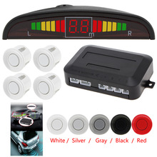 Ultrasonic LED Car Parking Sensor System Auto Reverse Backup Radar Kit with 4 Sensor Audible Alarm - Red White Gray Silver Black(China)