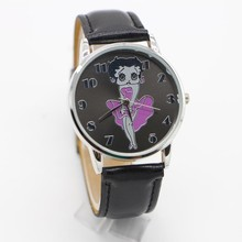 1pcs Womens Ladies Girl Wristwatch Leather Brand Betty Boop Pattern Stylish Quartz Watch Relogios Masculino fashion wristWatches(China)