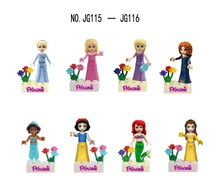 8pcs JG115 116 Princess Girl figures Building Blocks gift White Snow Tinker Bell Fairy Tale Anna Elsa Friends kids Brick Toy