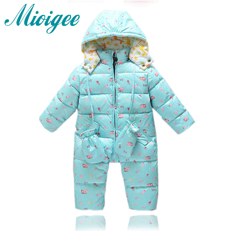 Mioigee 2017 New Down Baby Rompers Winter Outdoor boy Costume Girls Warm Infant Snowsuit Kid Jumpsuit Children Romper for 12M-3T<br>