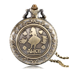 Vintage Copper Pocket Watch Alice in Wonderland Cut Pattern Fashion Modern Flower Retro Necklace Women Kids Birthday Xmas Gifts