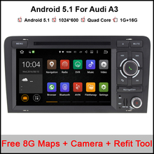"2 Din 7"" 1024x600 Quad Core 2GB/16GB Android 5.1.1 PC Car DVD GPS For Audi A3 S3 2002-2011 With Stereo Radio WiFi OBD DVR"