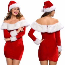 Mrs Santa Claus Costumes Sexy Women Christmas Costume Miss Santa Role Play Wide Boat Neck Deluxe Plush Fur Trim Dress with Hat(China)