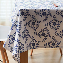 Blue and White Tablecloth cotton&linen table cloth modern tablewear square rectangle party cafe Christmas home decor dust cover