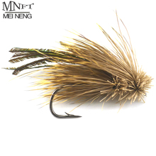 MNFT 10PCS 4#/6# Brown Grass Hopper Terrestrial Dry Fly Trout Bass Perch Fly Fishing Flies Peacock feather Lure(China)