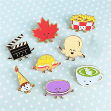 Cute cartoon series chips burgers cute girl leaves enamel brooch French clothes drip collar collar needle Pin wholesale