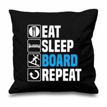 Novelty Eat Sleep Board Repeat Throw Pillow Case Snowboard Boarder Cushion Cover Funny Quote Gifts Winter Home Decor Two Sides(China)