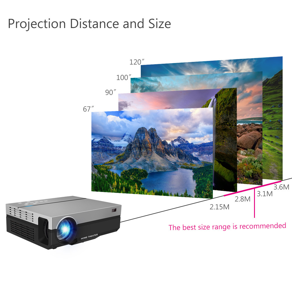 ThundeaL Full HD Projector T26K Native 1080P 5500 Lumens Video LED LCD Home Cinema Theater HDMI VGA USB TV 3D Option T26 Beamer 13