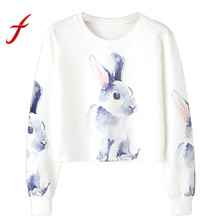 Feitong Women Girl Cropped Sweatshirts Casual Rabbit Print Long Sleeve Hoodies Pullover Sweatshirt Tops sudaderas mujer 2017 New(China)